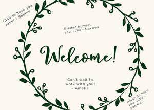 floral group welcome card Cartão com Mensagem de boas-vindas ao Grupo