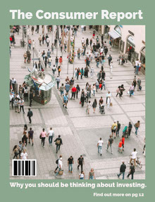 Green Consumer Report Magazine Cover with Crowd in Street Magazine Cover