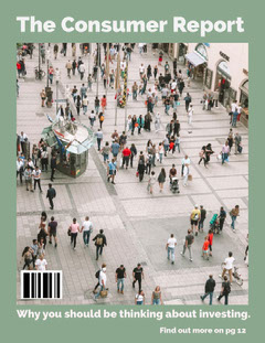 Green Consumer Report Magazine Cover with Crowd in Street Finance