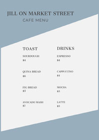 Blue Cafe Menu with Toast and Drinks 菜單