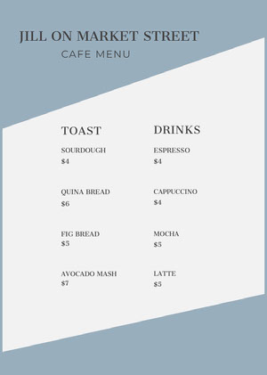 Blue Cafe Menu with Toast and Drinks Menu