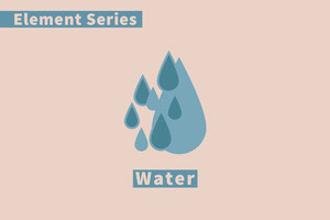 Blue and Pink Element Flashcard Water Cartão educativo