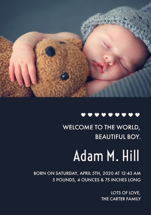 Dark Blue Baby Boy Birth Announcement Card with Sleeping Baby with Teddy Bear Birth Announcement