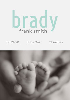 Blue and Gray Baby Boy Birth Announcement Card Boys
