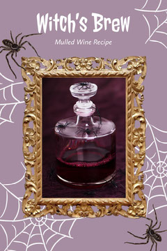 Purple Spooky Halloween Witch Themed Drink Recipe Pinterest Graphic with Spiders Cocktails