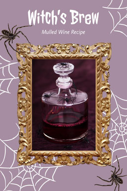 Purple Spooky Halloween Witch Themed Drink Recipe Pinterest Graphic with Spiders