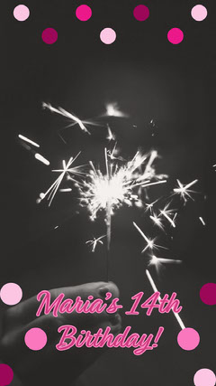 Pink and Black Dots and Fireworks Birthday Snapchat Geofilter Fireworks
