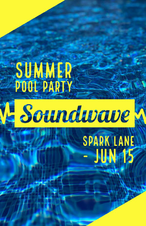 Yellow and Blue Pool Party Flyer Pool Party Invitation