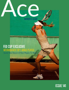 Green and Woman Playing Tennis Magazine Cover Tennis
