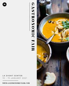 Black and White, Minimalistic Gastronomic Fest Ad, Instagram Portrait Virtual Flyer Instagram Flyer