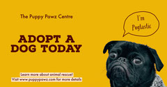 Yellow Adopt a Dog - Facebook Post  Dog Adoption Flyer