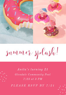 Pink and White Pool Party Invitation Invitation