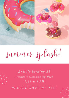 Pink and White Pool Party Invitation Party