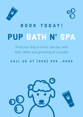 Navy Blue and Blue Animal Spa Flyer Flyer