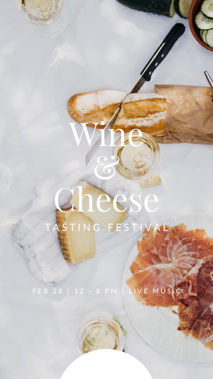 Bright Toned Wine and Cheese Festival Ad Instagram Story Cartel de Festival de Música