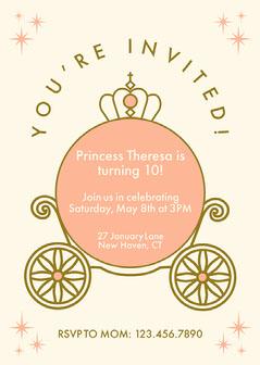 Peach Carriage Princess Invitation Christmas Invitation