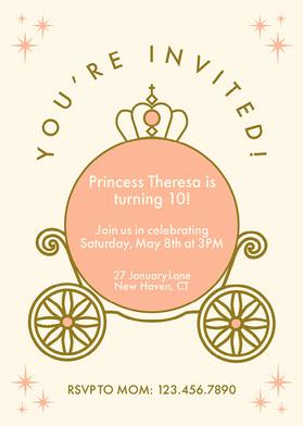 Peach Carriage Princess Invitation Invitation d'anniversaire