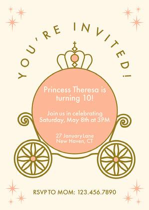 Peach Carriage Princess Invitation Princess Invitation