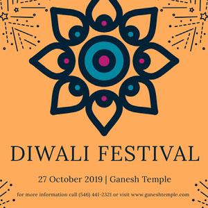 Orange Hindu Diwali Festival Instagram Post Ad Diwali
