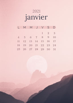 Pink and Black Mountain January Calendar Card