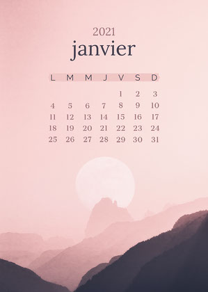 Pink and Black Mountain January Calendar Card Calendrier