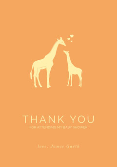 Orange Illustrated Thank You Baby Shower Card with Giraffes Baby Shower