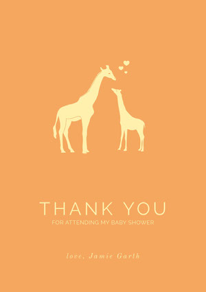 Orange Illustrated Thank You Baby Shower Card with Giraffes Baby Shower Thank You Card