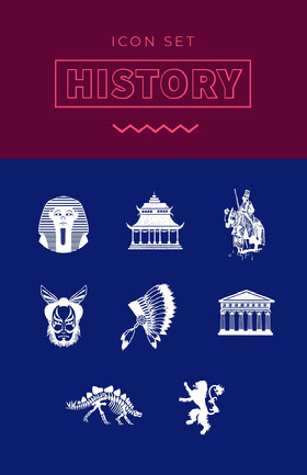 Claret Blue and White History Icons Poster School Project