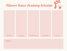 Fillmore Dance Academy  Schedule  行程表