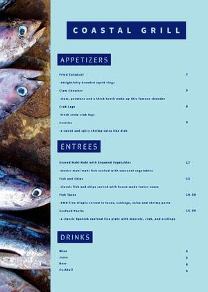 Blue Restaurant Menu Drink Menu