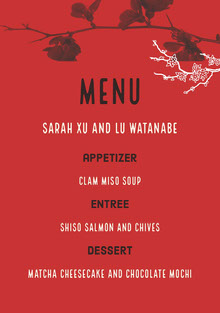 Red White and Black Wedding Menu Menu bruiloft