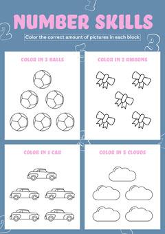 Blue, White and Pink, Light Toned, Preschool Worksheet Preschool Flyer