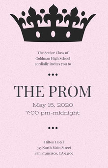 Pink High School Prom Poster with Crown School Posters