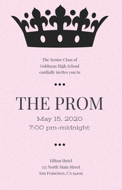 Pink High School Prom Poster with Crown Back to School