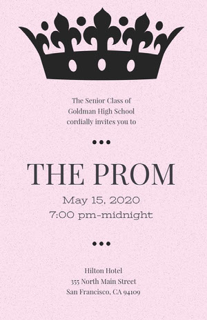 Pink High School Prom Poster with Crown Prom Posters