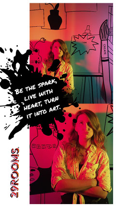 Illustrated Inspirational Creativity and Art Instagram Story with Woman and Text in Paint Splash Paint