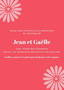 pink wedding cards Carte de remerciement de mariage