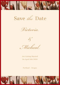 Gold and Red Elegant Calligraphy Floral Save the Date Wedding Card Save the date