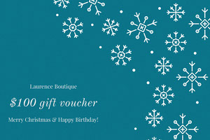 Blue Boutique Christmas Gift Voucher Coupon with Snowflakes Bon