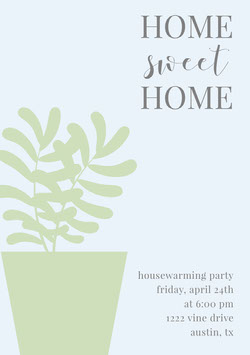 Green and Gray Housewarming Party Invitation Card with Houseplant Housewarming Invitation
