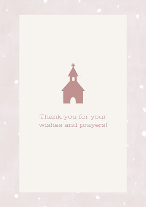 Claret and Grey Thank You Card Baptism Thank You Card