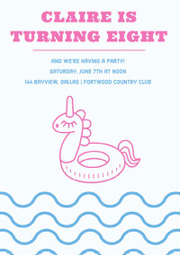 Pink and Blue Birthday Party Invitation Card with Unicorn Pool Float cumpleaños