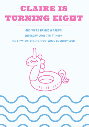 Pink and Blue Birthday Party Invitation Card with Unicorn Pool Float Tarjeta de cumpleaños de unicornio