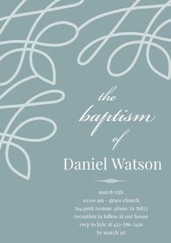 Pale Blue Elegant Son Baptism Invitation Card Baptism