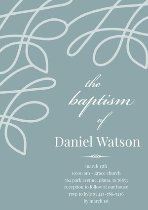 Pale Blue Elegant Son Baptism Invitation Card Baptism Invitation