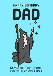 Blue Wizard Birthday Dad Card Birthday Card
