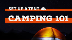 White and Orange Camping Banner Camping