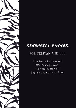 Black and White Rehearsal Dinner Invitation Rehearsal Invitation