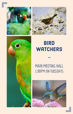Bird Watching Club Flyer with Collage Meeting Flyer