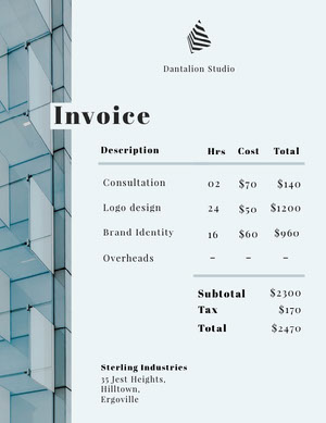 Pale Blue Skyscraper Graphic Design Business Invoice 청구서